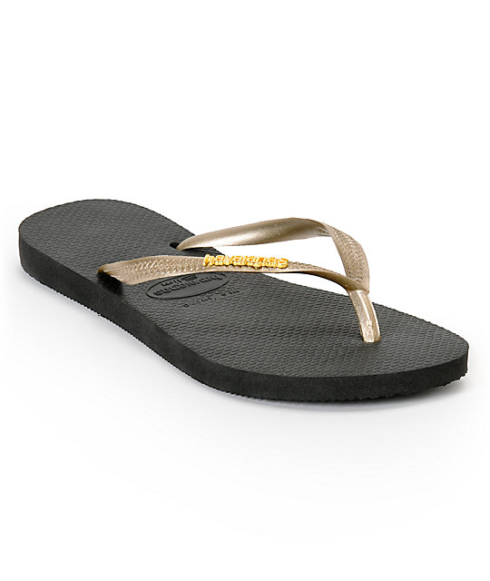 Havaianas Slim Logo Metallic Black & Gold Flip Flop Sandals