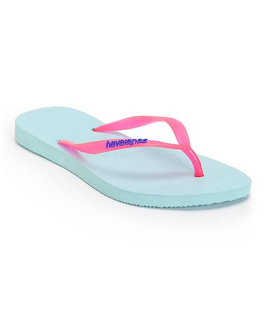 Havaianas Slim Logo Popup Aqua Flip Flops