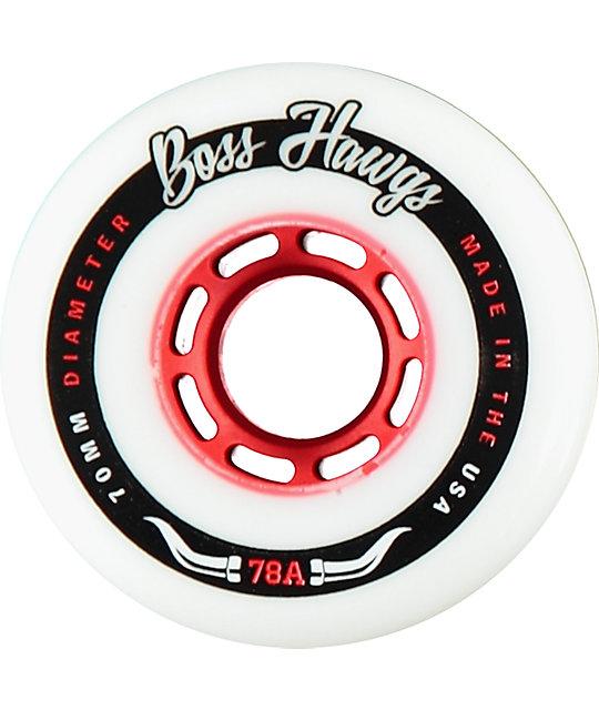 Hawgs Boss 70mm 78a White & Red Longboard Wheels