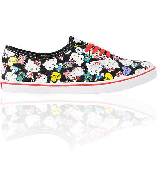 Hello Kitty Vans Black & Red Authentic Lo Pro Shoes (Womens)