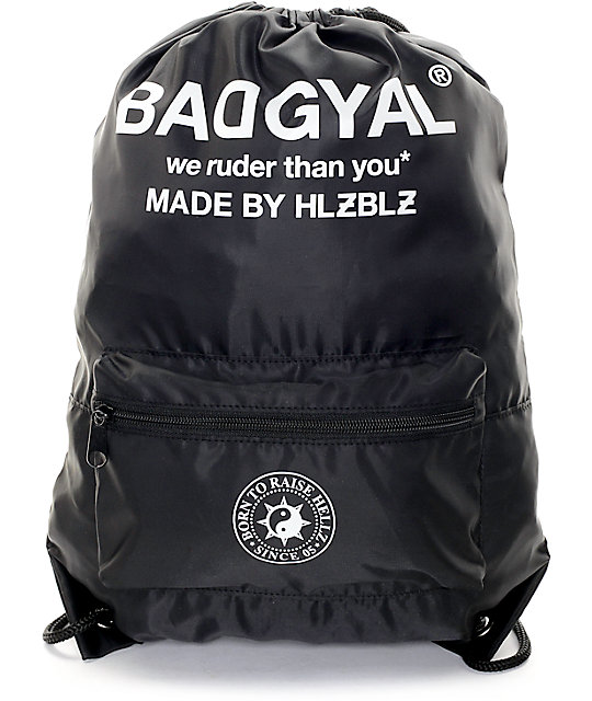 Hellz Bellz Bad Gyal Black Nylon Cinch Bag