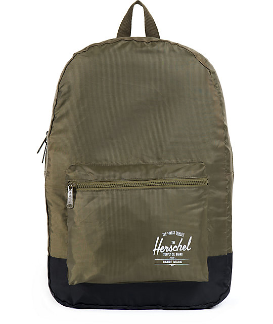 Herschel Supply Army Green & Black Packable Backpack