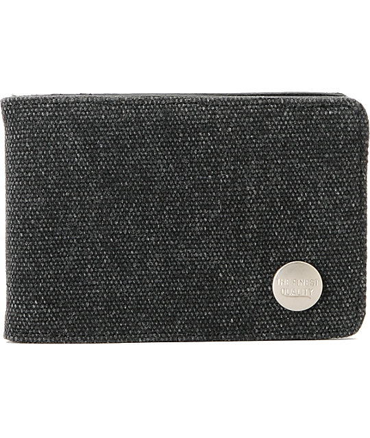 Herschel Supply Buck Black Canvas Bifold Wallet