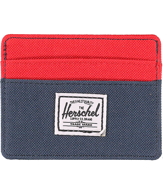 Herschel Supply Co. Charlie Navy & Red Cardholder
