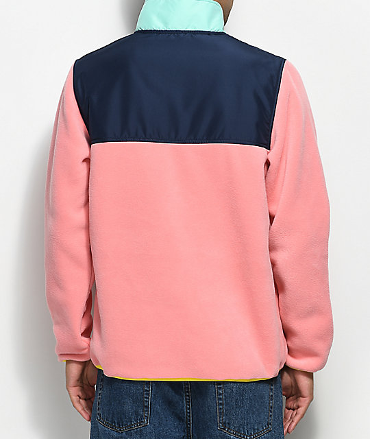 Herschel Supply Co. Guide Pink, Peacoat & Green Pullover Tech Fleece