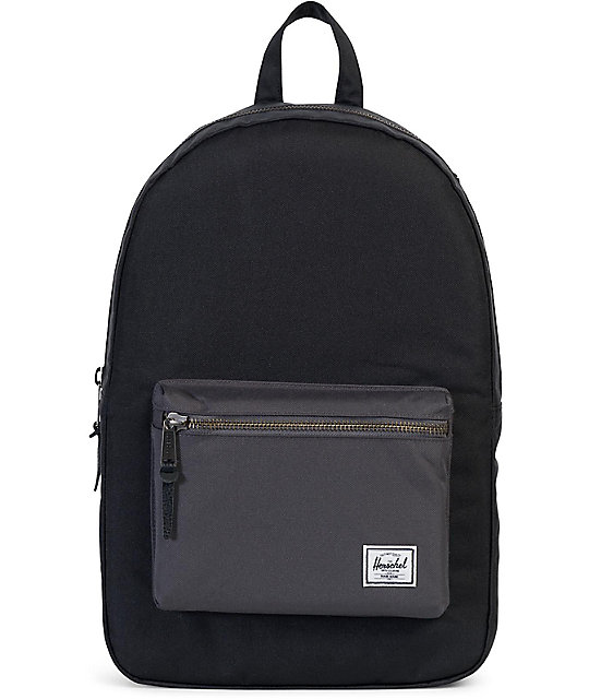 Herschel Supply Co Settlement Backpack: Herschel Supply Co. Settlement Black & Charcoal 23L Backpack