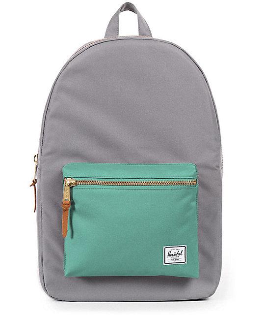 Herschel Supply Co Settlement Backpack: Herschel Supply Co. Settlement Grey & Seafoam 17L Backpack