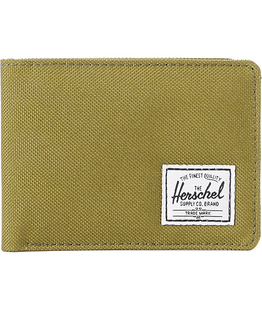Herschel Supply Hank Army Green Canvas Bifold Wallet