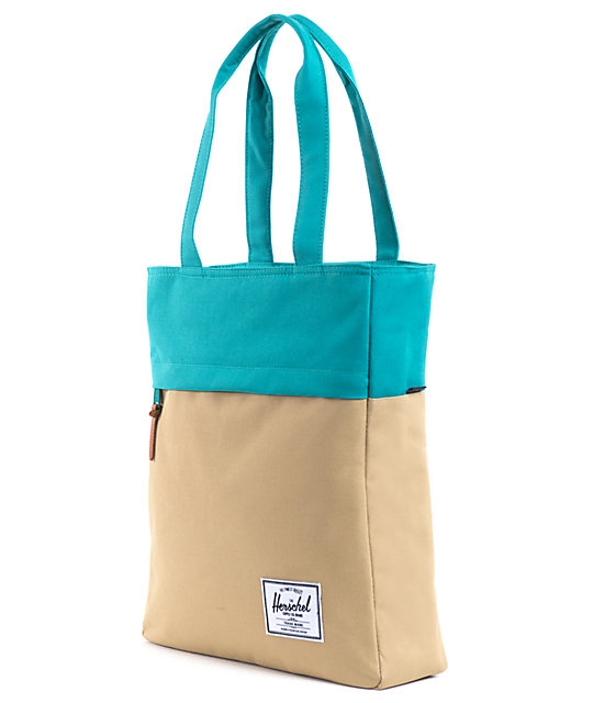 Herschel Supply Harvest Khaki & Teal Tote Bag