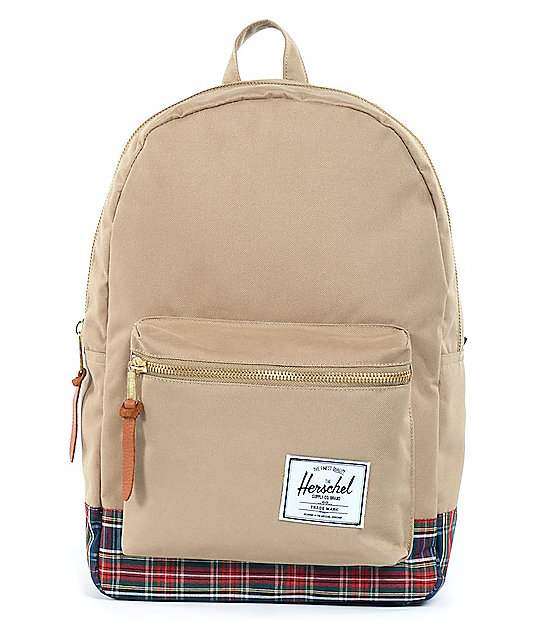 Herschel Supply Khaki Tartan Settlement 20L Backpack