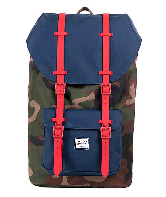 Herschel Supply Little America Camo, Navy, & Red 24L Backpack