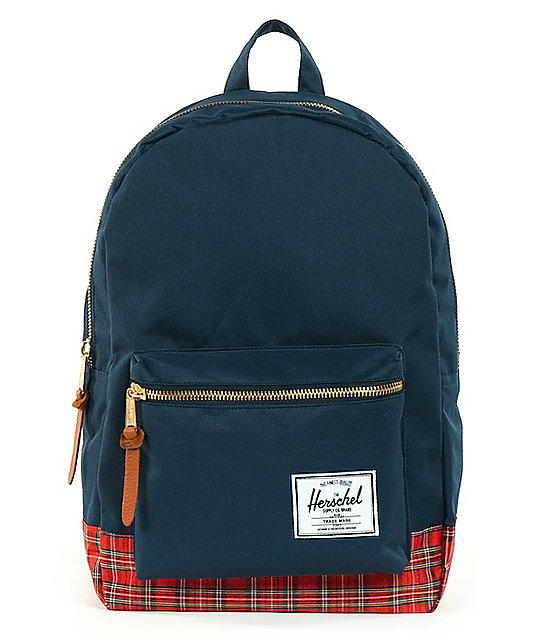 Herschel Supply Navy Tartan Settlement Backpack