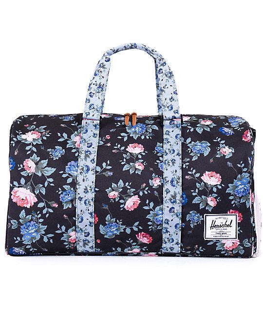 Herschel Supply Novel Black Floral Duffle Bag
