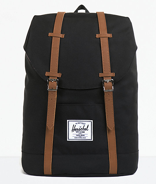 herschel supply retreat black backpack. Black Bedroom Furniture Sets. Home Design Ideas