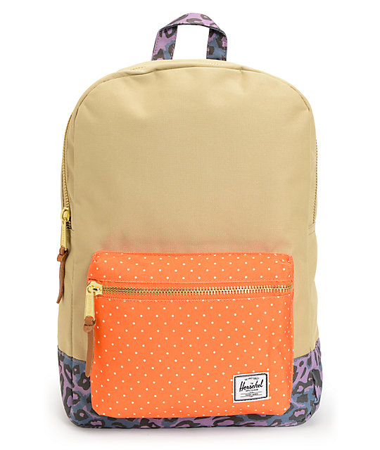 Herschel Supply Settlement Khaki, Orange & Cheetah Backpack