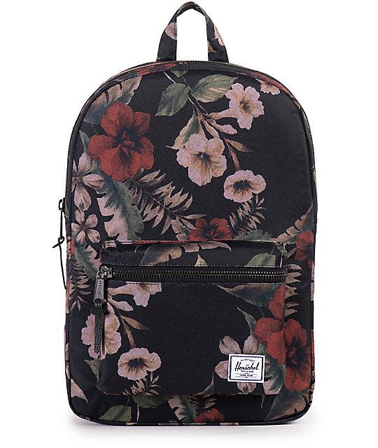Herschel Supply Settlement Mid Black & Hawaiian Floral Print 17L Backpack
