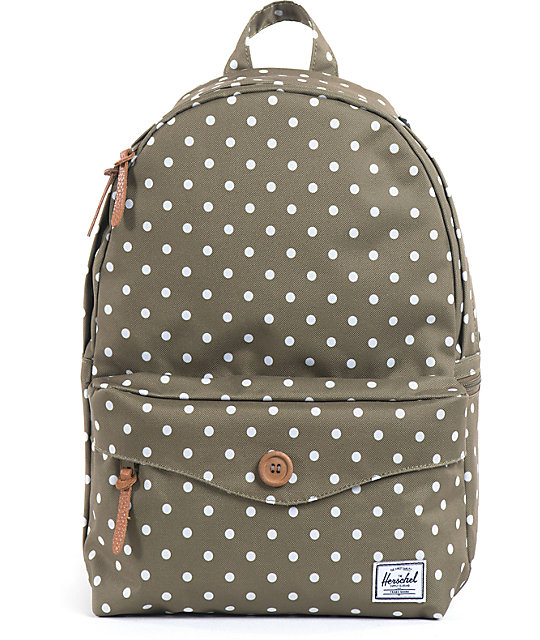 Herschel Supply Sydney Olive Polka Dot Backpack