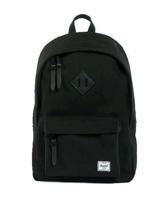 Herschel Supply Woodlands Black Canvas Backpack