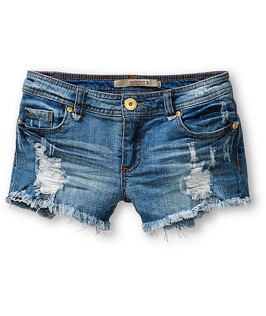 Jeans Caroline Dark Wash Destructed Denim Shorts