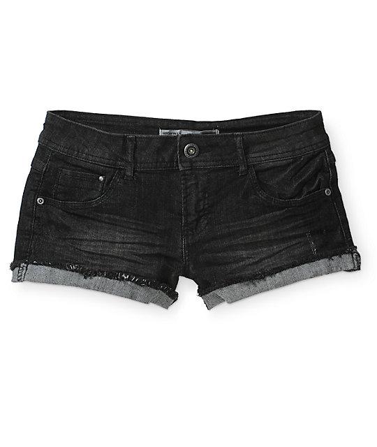 Highway Jeans Cuffed Black Denim Shorts