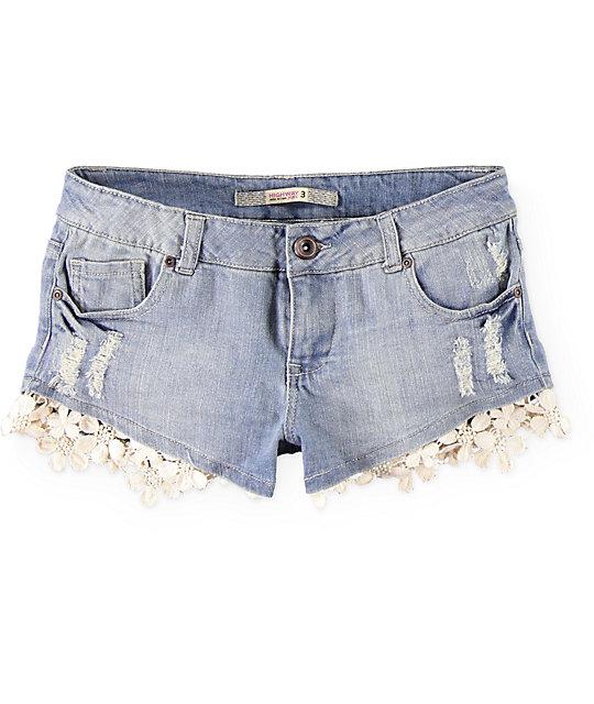 Crochet Jeans : Highway Jeans Floral Crochet Trim Denim Shorts at Zumiez : PDP
