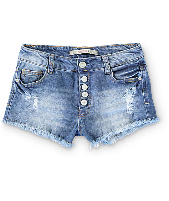 Highway Jeans Liz Medium Wash Destroyed Shorts