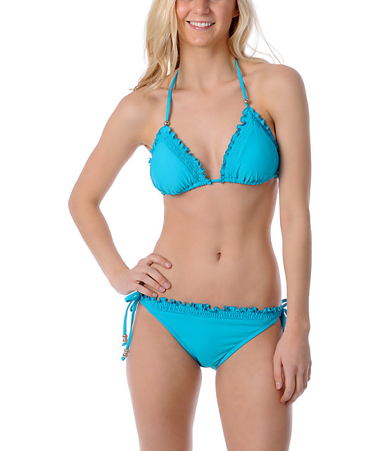 Hobie Beach Stop Color Me In Turquoise Triangle Bikini Top