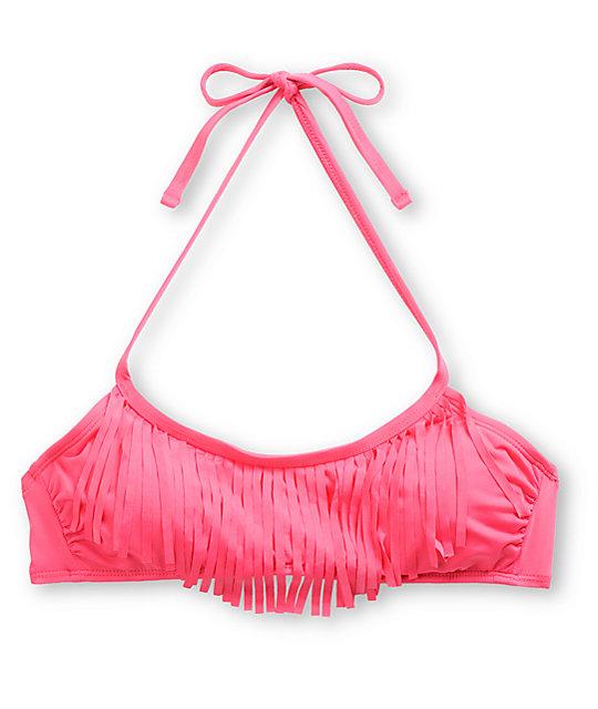 Hobie Raspberry Pink Fringe Bikini Top