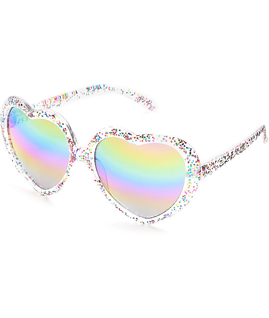 Holiday Glitter Rainbow Heart Sunglasses