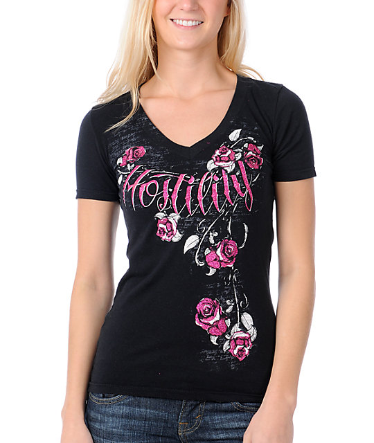 Hostility Blossom Black V-Neck Slash T-Shirt