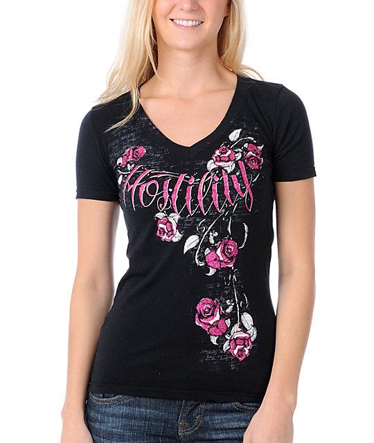 Hostility Blossom Black V-Neck Slash T-Shirt