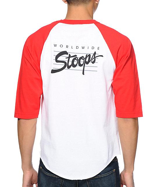 Huf Stoops White & Red Baseball T-Shirt