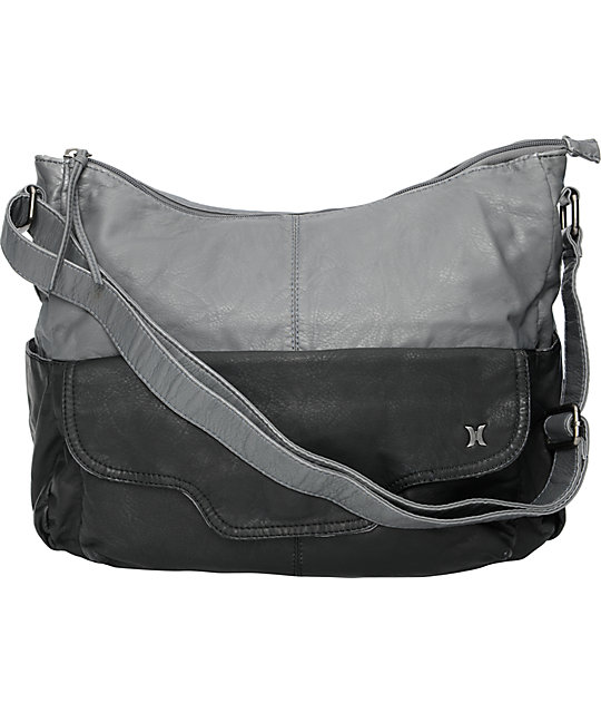 Hurley 2 Tone Black & Grey Hobo Bag