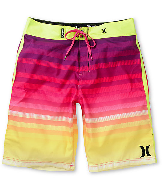 Hurley Crikey Magenta & Yellow Striped Board Shorts