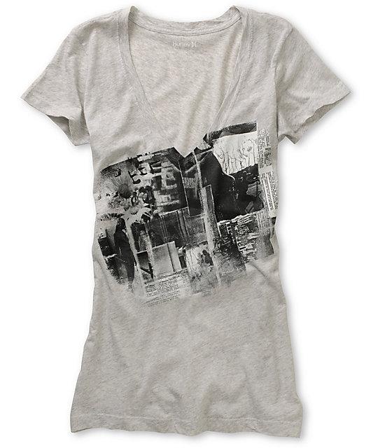 Hurley Eastside Grey V-Neck T-Shirt