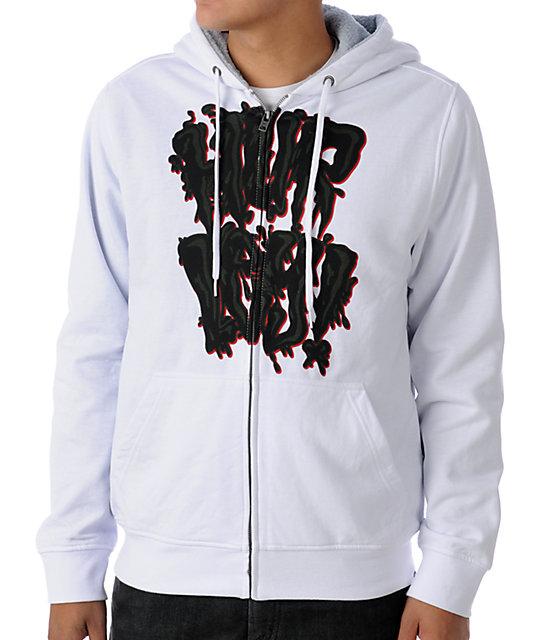 Hurley Hurl N Drip White Sherpa Hoodie
