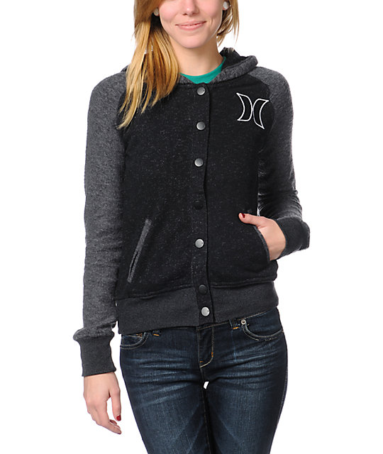 Hurley JV Black & Grey Fleece Varsity Hoodie