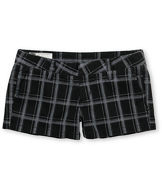 Hurley Lowrider Black Plaid Shorts