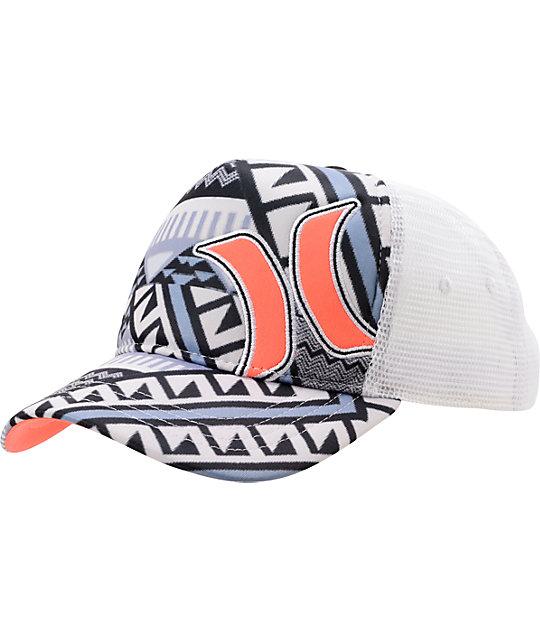 Hurley Mayan White Snapback Trucker Hat