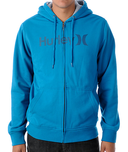 Hurley One & Only Blue Sherpa Hoodie