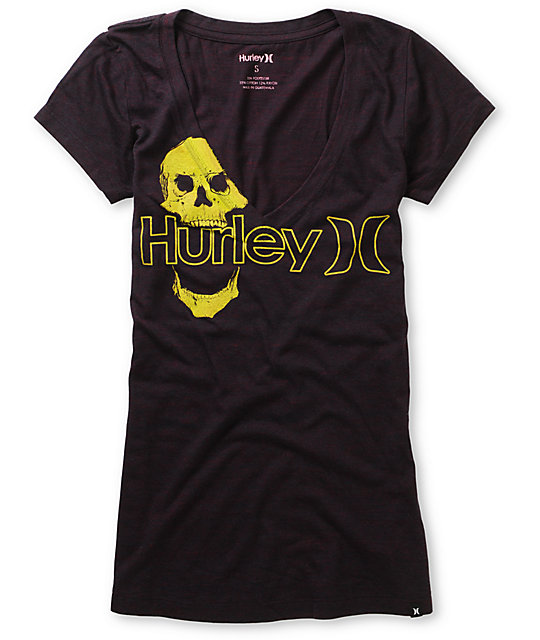 Hurley One & Only Plus Skully Blackberry V-Neck T-Shirt