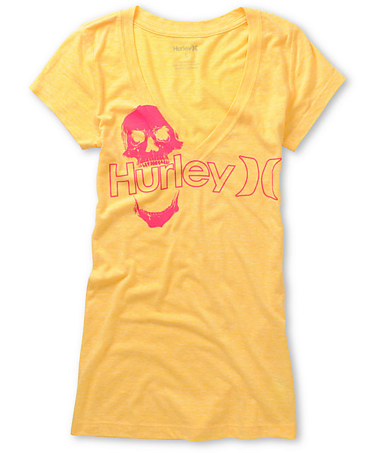 Hurley One & Only Plus Skully Yellow V-Neck T-Shirt