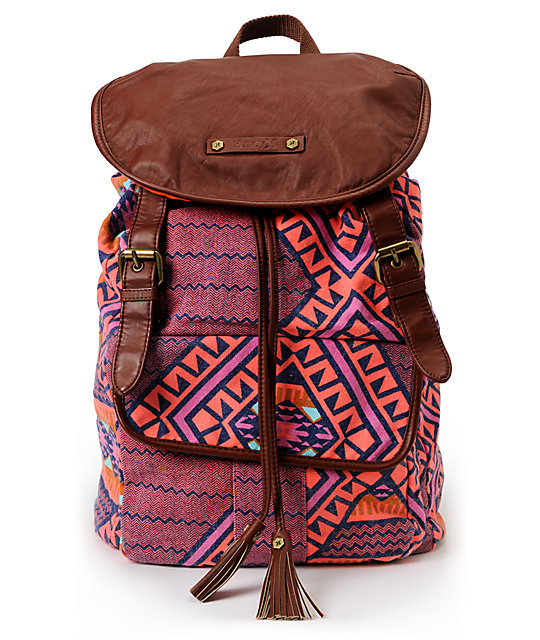 Hurley One And Only Orange Tribal Print Backpack