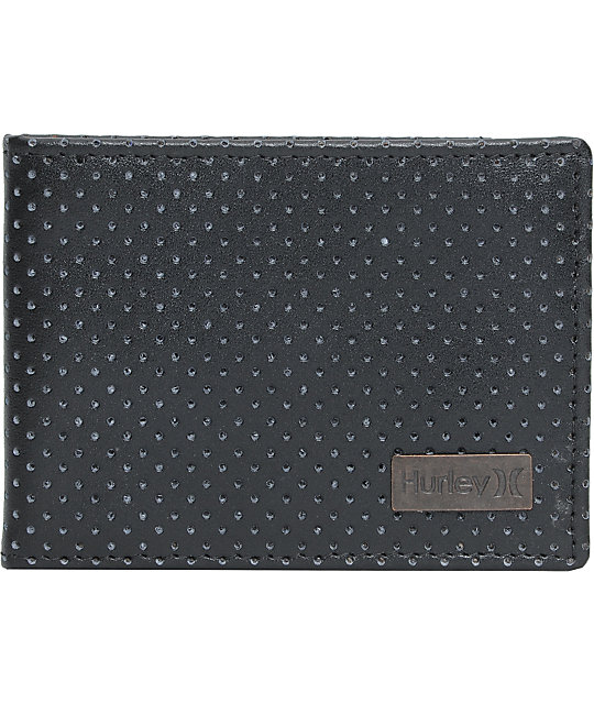 Hurley Pension Perforated Black Leather Wallet