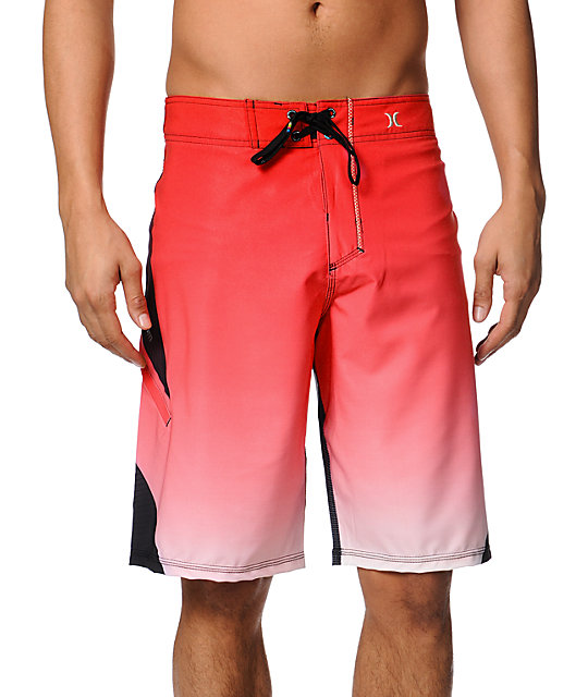 Hurley Plex Phantom Red & Black Striped 21 Board Shorts