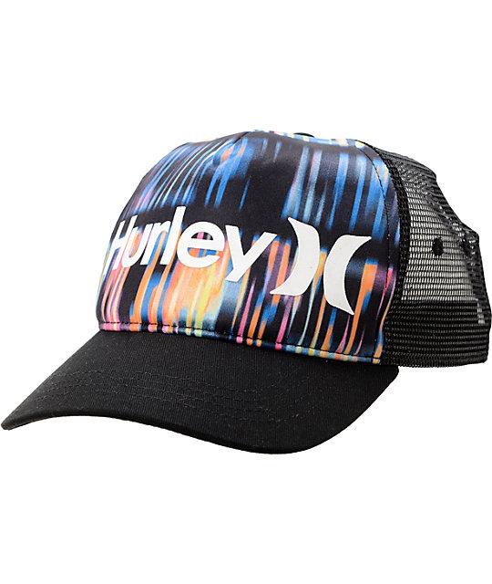 Hurley Record Scratch Black Snapback Trucker Hat