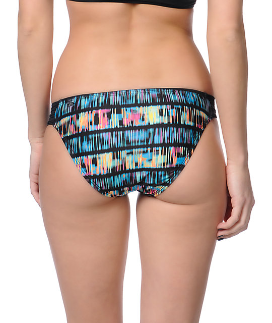 Hurley Swim Record Scratch Aussie Tab Side Bikini Bottom