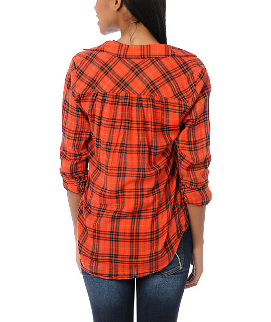 Hurley Wilson Red Plaid Button Up Shirt