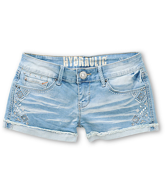 Hydraulic Bailey Aztec Embroidered Light Wash Denim Shorts at ...