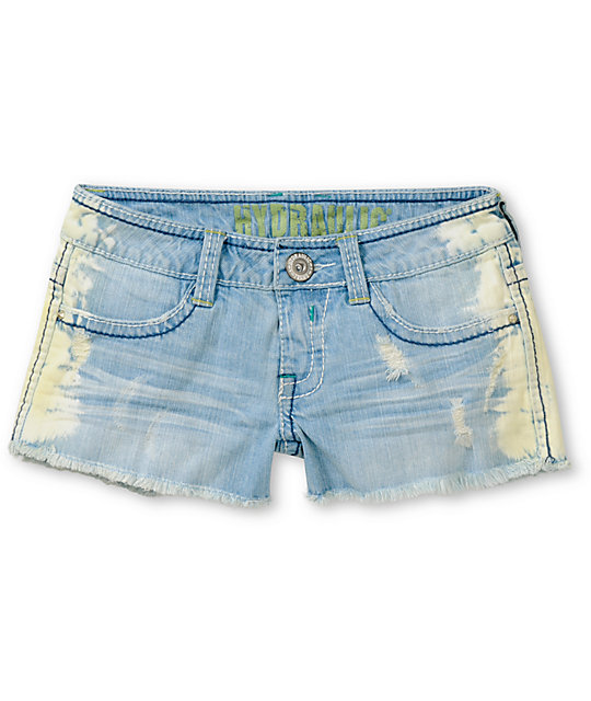 Hydraulic Jewel Side Tie Dye Cut Off Shorts